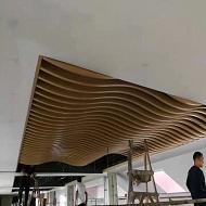 拉弯木纹铝方通吊顶完工